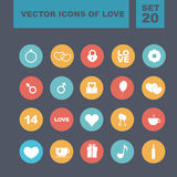 Set of vector icons for love. Set of colored vector icons of love. Vector illustration. Valentine's Day. Flat design Stock Illustration
