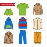 Set of vector icons of men's clothing for your design. Stock Photography