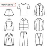Set of vector icons of men's clothing for your design. Outline men's clothing icons Royalty Free Stock Photography