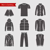 Set of vector icons of men's clothing for your design. Silhouette grey men's clothing icons Stock Photography