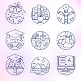 Set of vector icons in modern linear style. Royalty Free Stock Photo