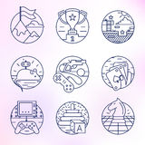 Set of vector icons in modern linear style. Set of game skill vector icons in modern linear style Royalty Free Stock Photography