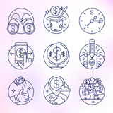 Set of vector icons in modern linear style. Money schemes, Business and Finance Stock Image