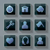 Set of vector icons in a modern style polygon. Royalty Free Stock Image