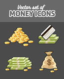 Set of vector icons with money Stock Photo