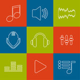 Set of vector icons music for app. Stock Image