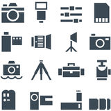 Set vector icons photo accessories. Royalty Free Stock Photography