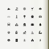 Set of vector icons. Recreation, tourism, industry. Stock Photography