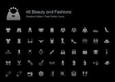 Beauty and Fashions Pixel Perfect Icons Shadow Edition. Set of vector icons representing beauty and fashions design in grey shading gradient color for black stock illustration