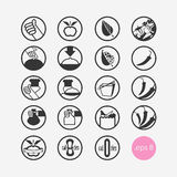 Set vector icons, restaurant, vegetarian, vegan, food, take-out, cook, best, apple, diet, spicy, recommended, new, round Royalty Free Stock Photos