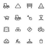 Set of vector icons of road equipment, construction and repair of roads on a light background Royalty Free Stock Image