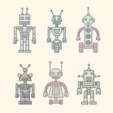 Set of vector icons of robots painted with lines painted in soft pastel colors. Vector illustration for decoration icon Stock Image