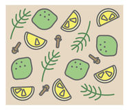 Set of vector icons: rosemary, clove, lime, lemon Stock Photo