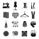 Set of vector icons sewing tools. Black sewing supplies on white background Royalty Free Stock Photography