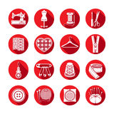 Set of vector icons sewing tools. White sewing supplies in a round red frame Stock Photography