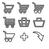 Set of vector icons shopping baskets and carts. Royalty Free Stock Image