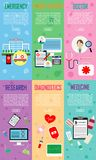 6 Set vector icons, sign and symbols in medicine and health with elements.emergency,patient history,doctor,research,diagnostics,m. Edicine Stock Images
