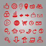 Set of vector icons for site made marker. Doodle elements collection stock illustration