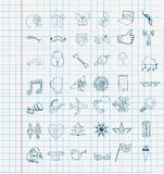 Set of vector icons sketch Stock Photo