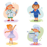 Set vector icons of small children different professions Royalty Free Stock Image