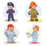 Set vector icons of small children different professions. Set of vector icons of small children police, firefighter, astronaut, doctor Stock Photography