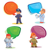 Set vector icons of small children different professions. Set of vector icons of small children police, firefighter, astronaut, doctor with speech bubble Royalty Free Stock Images