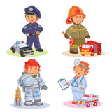 Set vector icons of small children different professions. Set of vector icons of small children police, firefighter, astronaut, doctor with their vehicles Stock Photos