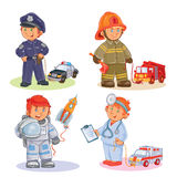 Set vector icons of small children different professions. Set of vector icons of small children police, firefighter, astronaut, doctor with their vehicles Stock Image