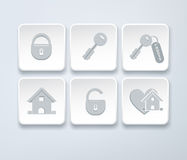 Set of vector icons with small house, key, open, closed lock Stock Photo