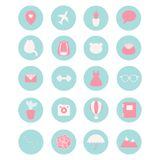 Set of 20 vector icons for social networks, business, etc. Set including fitness, fashion and lifestyle themes stock illustration