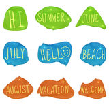 Set of VECTOR icons, summer theme. White handwritten letters on colorful paint smears. Stock Photography