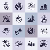 Set of vector icons on the theme of ecology, global warming and ecology problems of our planet as a whole. vector illustration