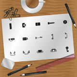 Set of vector icons on the theme of hardware. Color vector illustration. Set of vector icons royalty free illustration