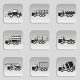 Set of vector icons on the theme of heavy motor vehicles. Royalty Free Stock Images