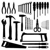 Set vector icons of tools on a white background. Royalty Free Stock Photography