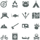 Set of vector icons for tourism, travel and campin. G. All elements are on separate layers. Possible to easily change the colors and size without losing image Stock Images