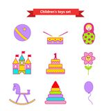 Set of vector icons of toys. Collection of toys for children. Vector illustration in a flat style Royalty Free Stock Photo