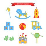 Set of vector icons of toys. Collection of toys for children. Vector illustration in a flat style. Stock Images