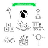 Set of vector icons of toys. Collection of toys for children. Vector illustration in a line style. Royalty Free Stock Photography
