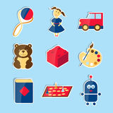 Set of vector icons for toys store. Stock Photography