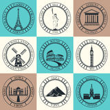 Set of Vector Icons. Travel and Sightseeing. Royalty Free Stock Photography