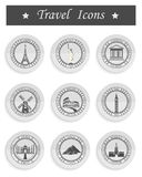 Set of Vector Icons Travel. Stickers and icons of travel. Vector illustration isolated famous scenic attractions and places of the world Royalty Free Stock Photo