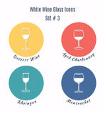 Set of vector icons. Variation of detailed hand drawn wine glass Royalty Free Stock Photo