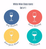 Set of vector icons. Variation of detailed hand drawn wine glass Stock Photos