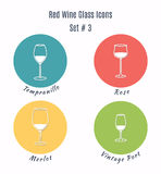 Set of vector icons. Variation of detailed hand drawn wine glass Royalty Free Stock Photos