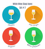 Set of vector icons. Variation of detailed hand drawn wine glass Stock Photo