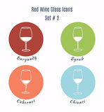 Set of vector icons. Variation of detailed hand drawn wine glass Stock Photography