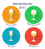 Set of vector icons. Variation of detailed hand drawn wine glass Royalty Free Stock Photography