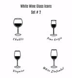 Set of vector icons. Variation of detailed hand drawn wine glass Stock Image