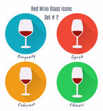 Set of vector icons. Variation of detailed hand drawn wine glass Royalty Free Stock Images